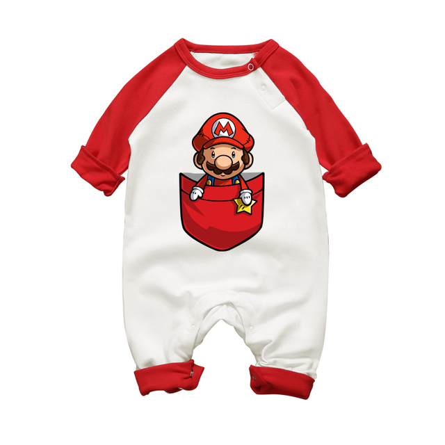 baby boy super mario cartoon print rompers winter thick infant character costume girls warm clothes baby - Bebe Mario