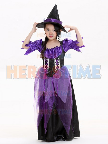 2017 Kids Halloween Costumes Purple Witch Costume-in Boys Costumes ...