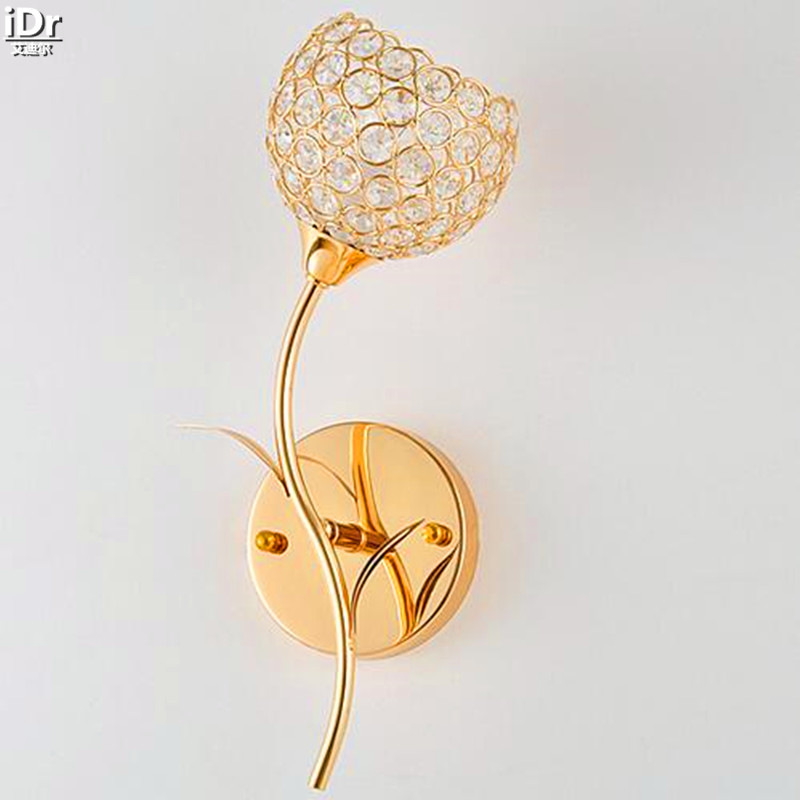 Простые современные Золотой K9led кристалл лампы ночники спальня лампа гостиная огни креативного освещения Настенные светильники OLU-0035