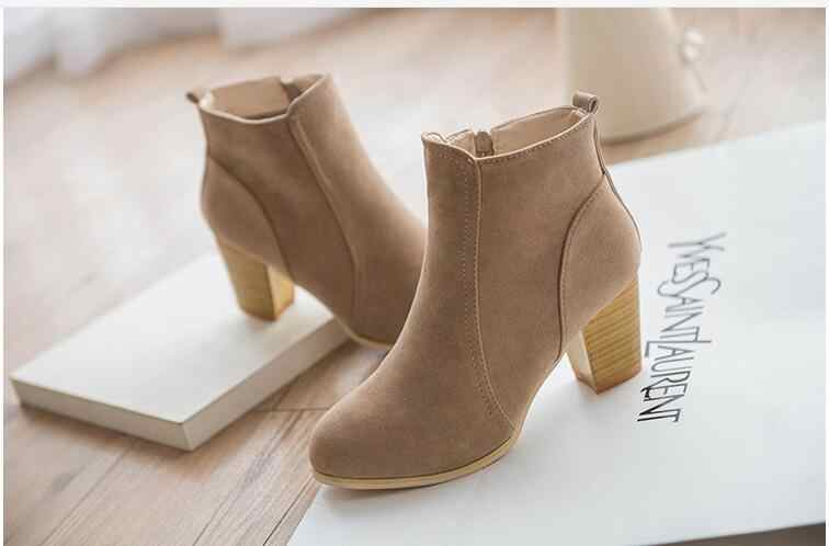 Nuevas botas de Otoño Invierno para mujer, zapatos negros, botas rojas, botas de cuero de gamuza, botas gruesas, talla 35-39