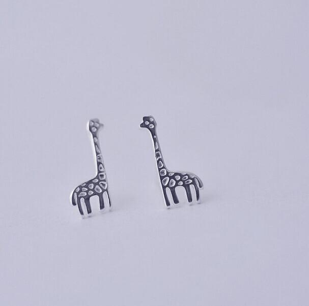 ٩ ۶925 Sterling Silver Earings Lucu Rusa Rusa Indah Stud