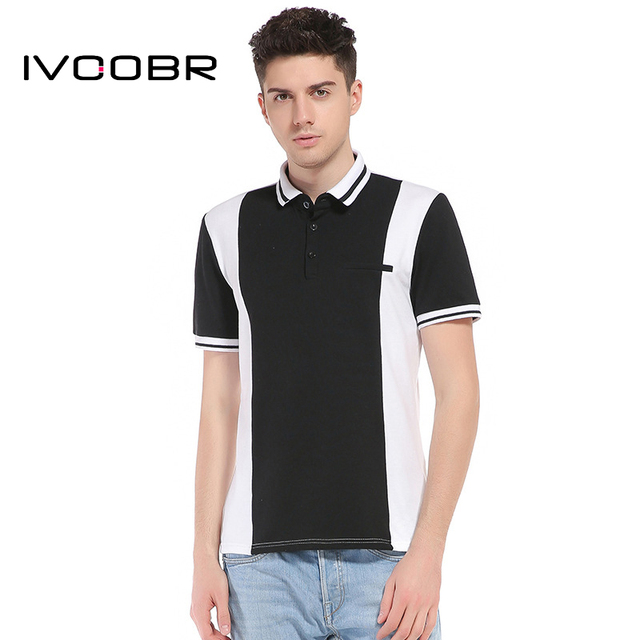 287bcadcb4c1c Fashion Men Polo Shirt Black And White Contrast Color Simple Patchwork  Casual Male Polos Cotton Short Sleeve Breathable Tops