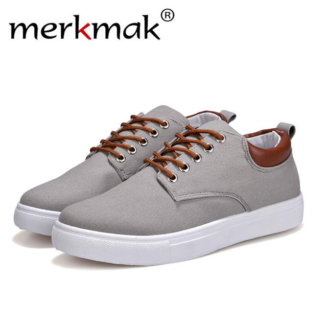 Merkmak Casual Canvas Comfort Men Shoes Fashion Lace-Up High Quality Breathable Male Flats Footwear Leisure Students Sneakers