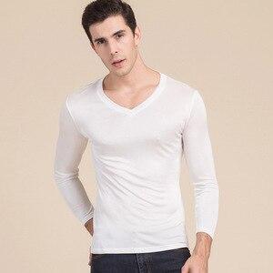 Image 3 - 男性の基本的な tシャツ 100% 天然シルク V ネックソリッドシャツ長袖トップメンズシルクトップ白黒グレー 2018 春夏新作
