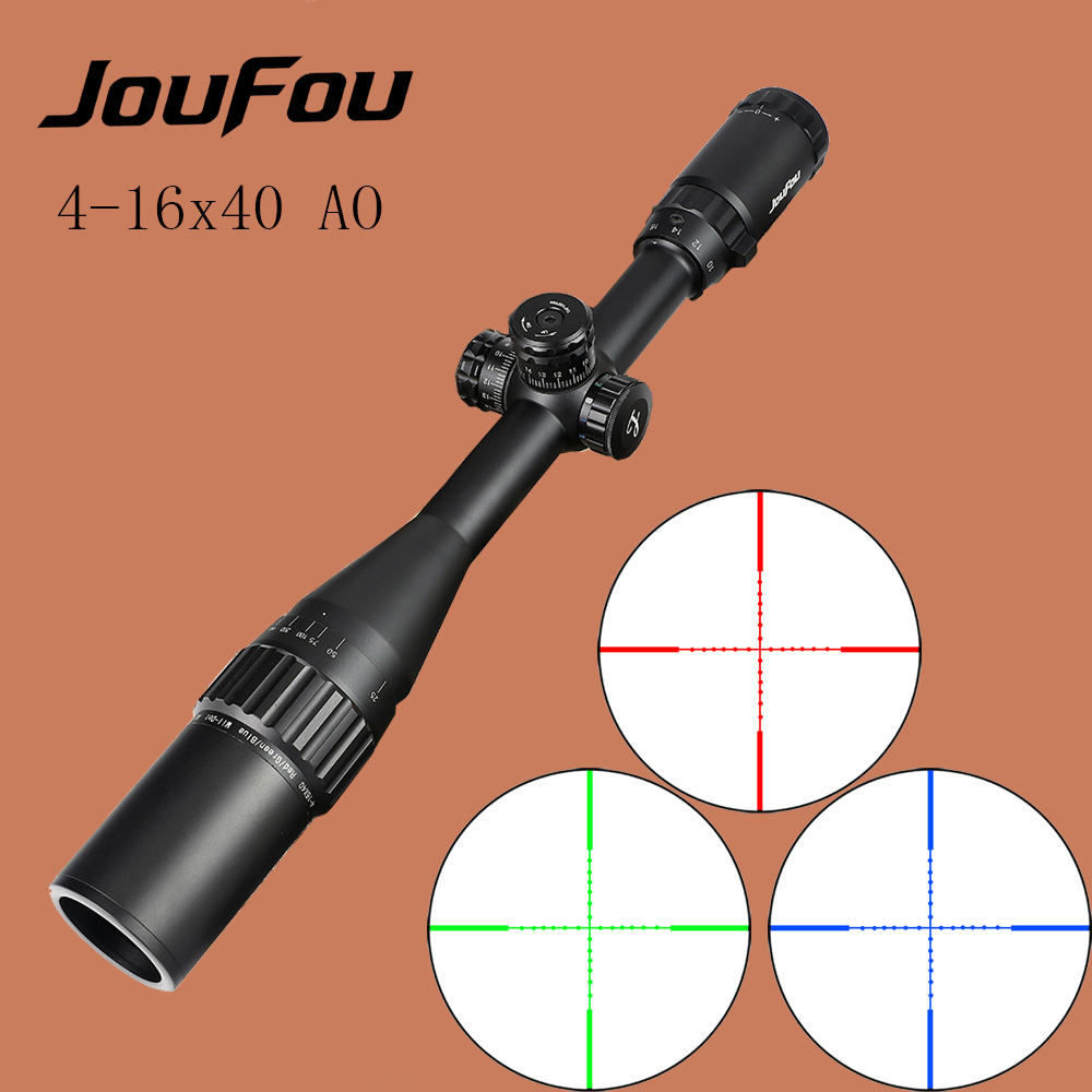JouFou 4-16X40AOL Tactical Rifle Scope Optical Sights Full Size Mil-Dot RGB llluminate Wire Reticle Hunting Riflescope for Rifle marcool 4 16x44 side focus front focal plane optical sights rifle scope hunting riflescopes for tactical gun scopes for adults
