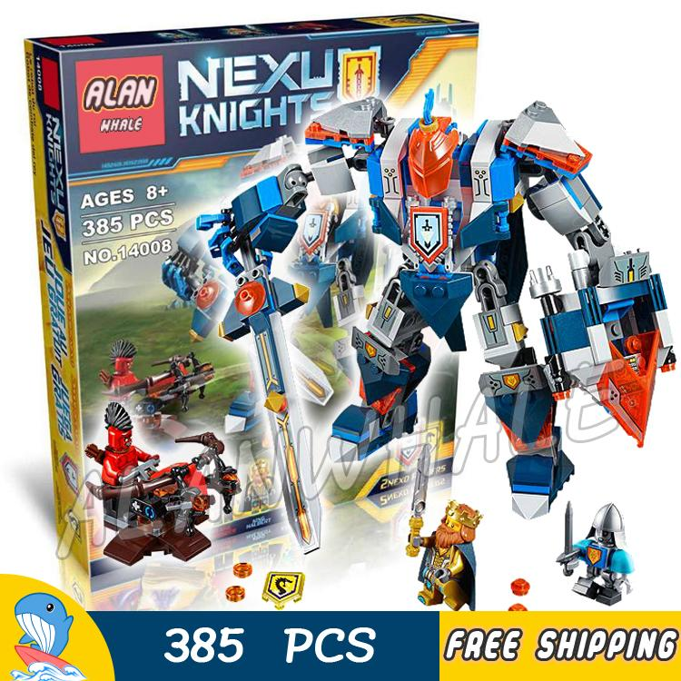 385pcs Knights The Kings Mech Saber Robots Mobile Suits 10487 Model Building Blocks Children Bricks Nexus Compatible With Lego
