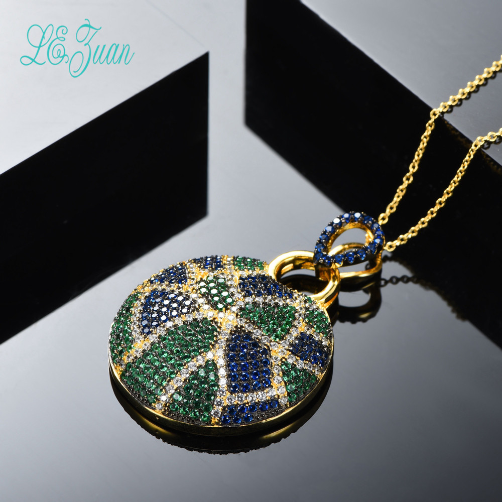l&zuan S925 Fashion Sterling Silver  Jewelry Round Multicolor Zircon Pendant Necklace For Women Christmas Gifts