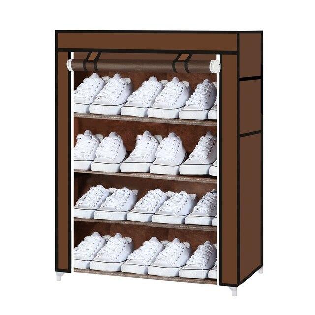 Canvas Steel Closet Cabinet Shoe Rack Dustproof Stand Shelf Storage Organizer Bedroom Clothes Hanger 60x30x72cm 4