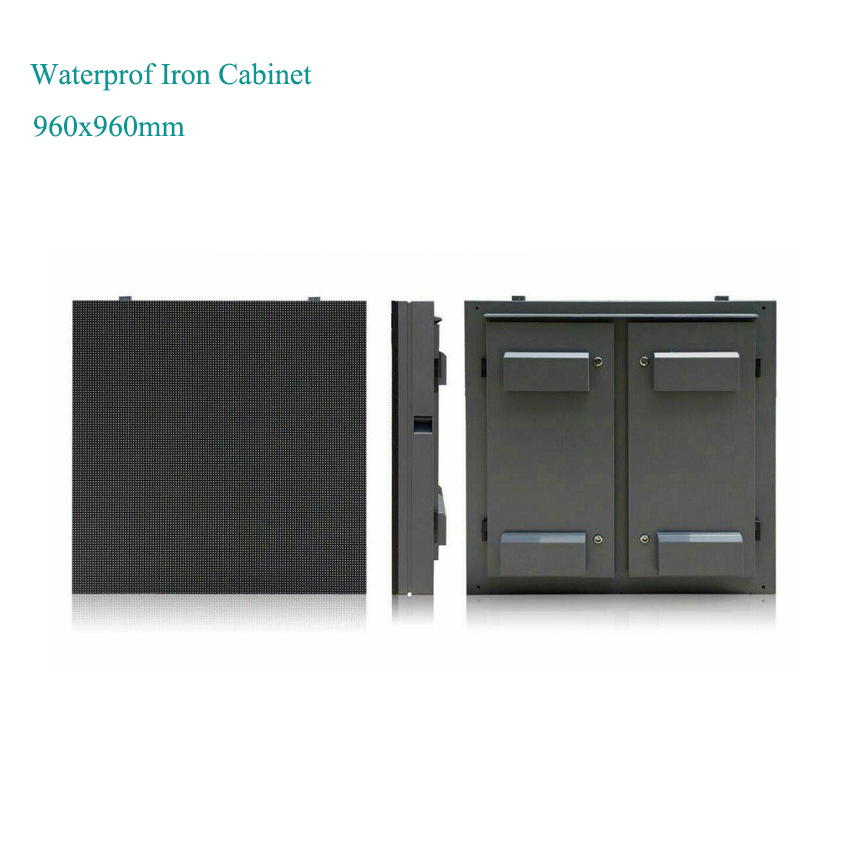 Roadside Advertising P10mm Led Large Outdoor Display 960x960mm Iron Cabinet Advertising Outdoor Digital Signage Displays