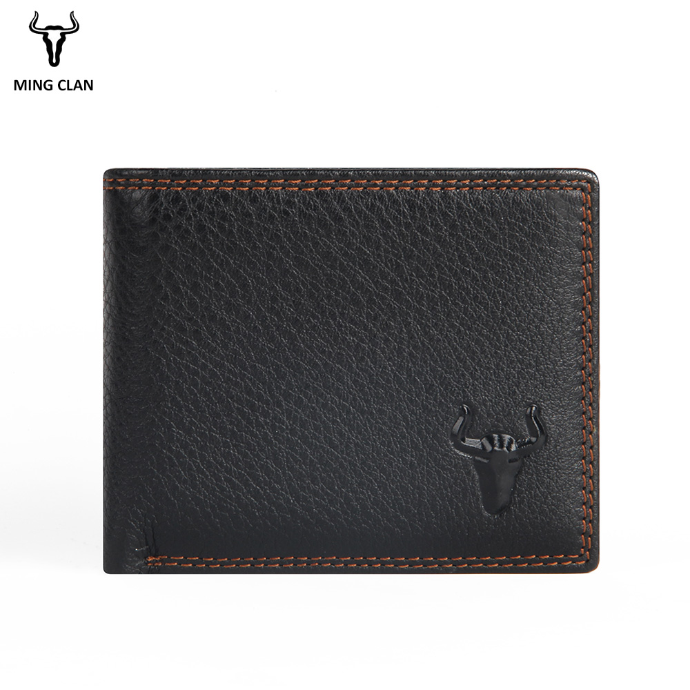 Mingclan Genuine Leather Wallet Short Men Wallets Hasp Male Purse Card Holder Slim Wallet Fashion Man Zipper Wallet Coin Purse