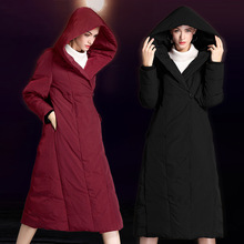 2018 autumn and winter new fashion ladies long down jacket thick hooded long knee over large loose down coat W6010 цены онлайн