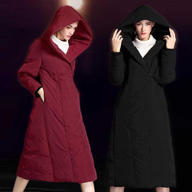 2018 autumn and winter new fashion ladies long   down   jacket thick hooded long knee over large loose   down     coat   W6010