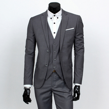 Fashion Boutique Pure Color Groom Wedding Dress Suits Men Slim Formal Business Blazer Suits