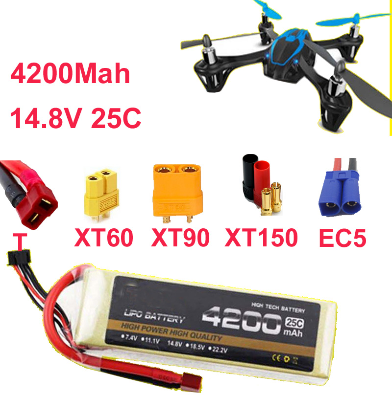 ФОТО high rate battery 25C 4s 14.8v 4200mah drone battery aircraft li-poly battery 25C low resistance rechargeable fpv battery