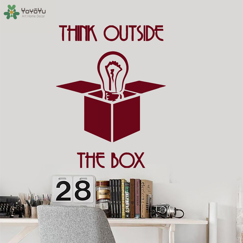 YOYOYU Wall Decal Inspirational Quotes Think Outside The Box Wall Sticker Creative Office Poster Interior Removable Decor CT171