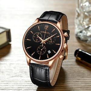 Image 3 - CRRJU relojes deportivos para hombre, de lujo, informal, resistente al agua, con correa de cuero de cuarzo, Masculino