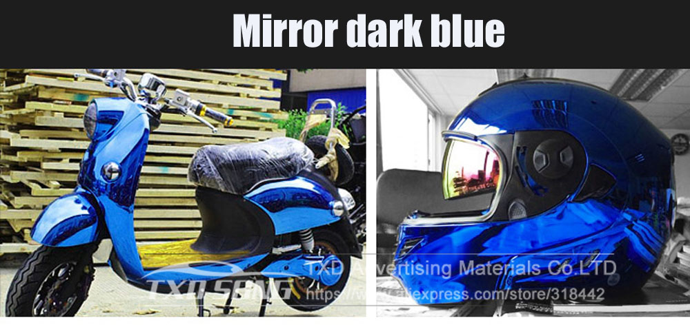 Image 2 - 50CM*100/200/300/400/500CM/Roll High stretchable dark Blue Chrome Mirror Vinyl Wrap Sheet Roll Film Car Sticker Decal Sheet-in Car Stickers from Automobiles & Motorcycles