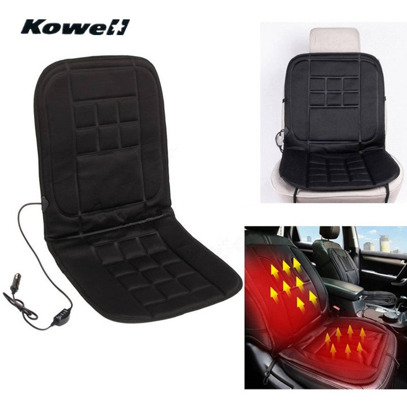 KOWELL 12V Universal Winter Car Seat Heated Cushion Cover Case Degree Temperature Adjustable Heater Auto Driver Warmer Support