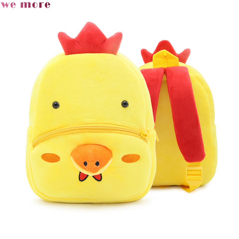 we more 2018 Cartoon Yellow chicken Adorable Children'S Backpack Crystal Plush Fabric Art Early Childhood Education Backpacks