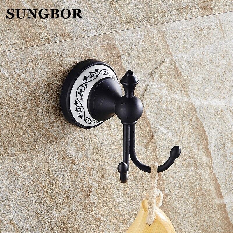 все цены на Bathroom Oil Rubbed Black Bronze New style Accessories Brass robe hook Coat Clothes Holder hanger Robe Hook SY-4801H онлайн