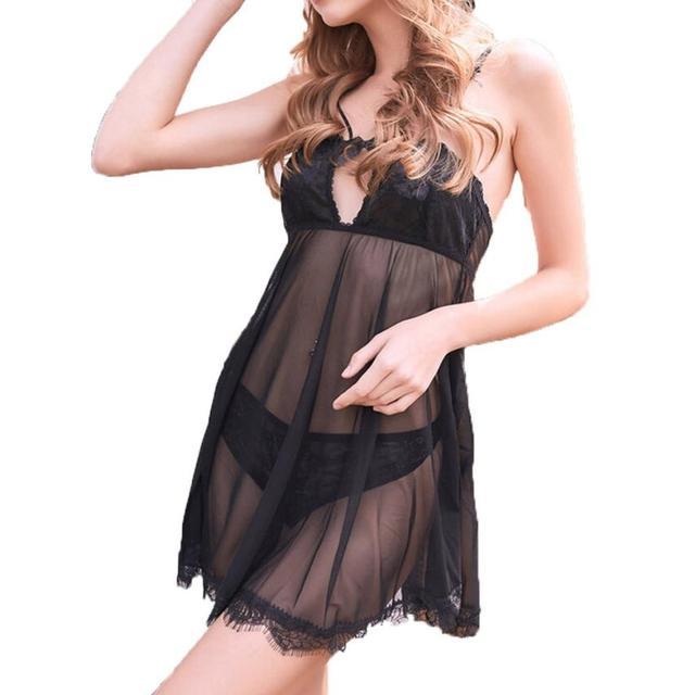 Fast sending Sexy Lingerie Strap Women Diaphanous Black Lace Dress Sleepwear  V-Neck Female Nightdress (present pant) Drop Ship   658aec1e5
