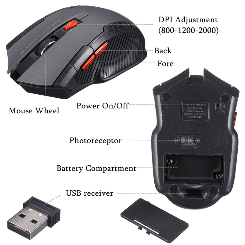 2.4GHz Wireless Optical Mouse Gamer New Game Wireless Mice with USB Receiver Mause for PC Gaming Laptops 1