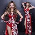 Hot Sexy Mujeres red leopard impreso Traje de la Etapa de Ropa Cantante Estrella Femenina de Danza Jazz Traje Trajes de la Etapa Para Cantantes