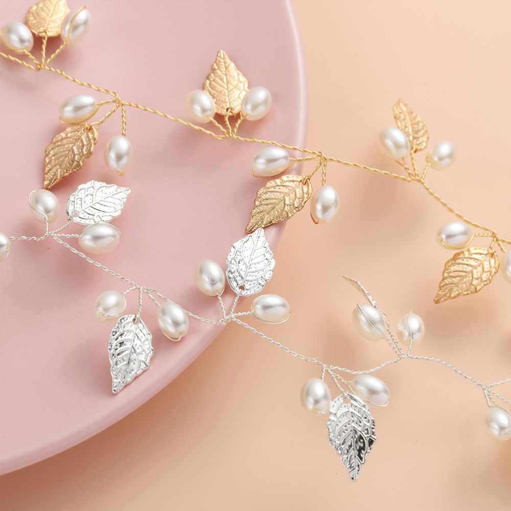 Perle feuilles vigne tiare mariée tête chaîne mariée bandeaux cheveux ornements mariage cheveux accessoires fait main coiffure de mariage