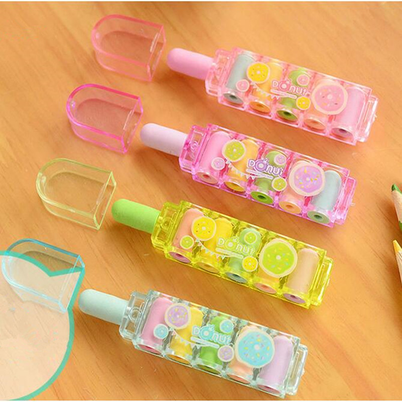 1 Set Cute Bullet Rubber Mini Erasers -for-kids Can Replace Type Children Art Drawing School Supplies Stationery