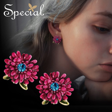 Special European and American 925 silver needle flower earrings female ear nail Luo god blooming