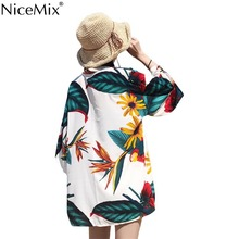 NiceMix 2019 Summer Harajuku Kimono Cardigan Women Vintage Flower Print Blouse Sun Protection Jacket Streewear Shirt Blusas New