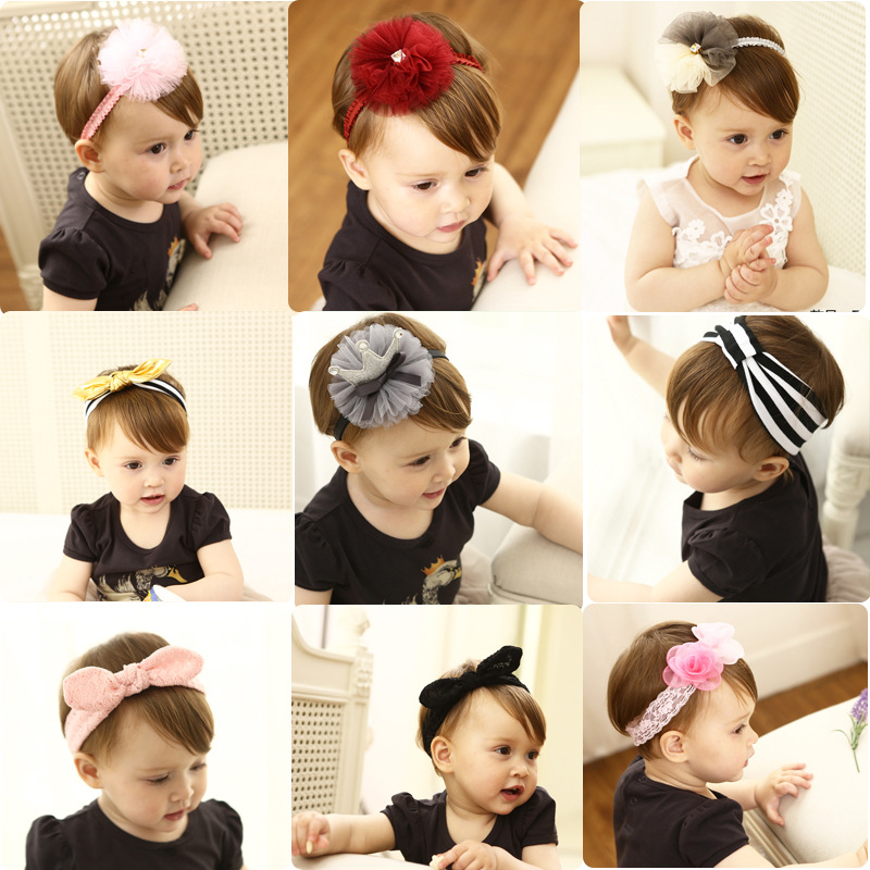 цена на Korea handmade cotton hair band Rabbit flower Crown headband cute girls hair accessories kids bow hair ties hairband turban 1pcs