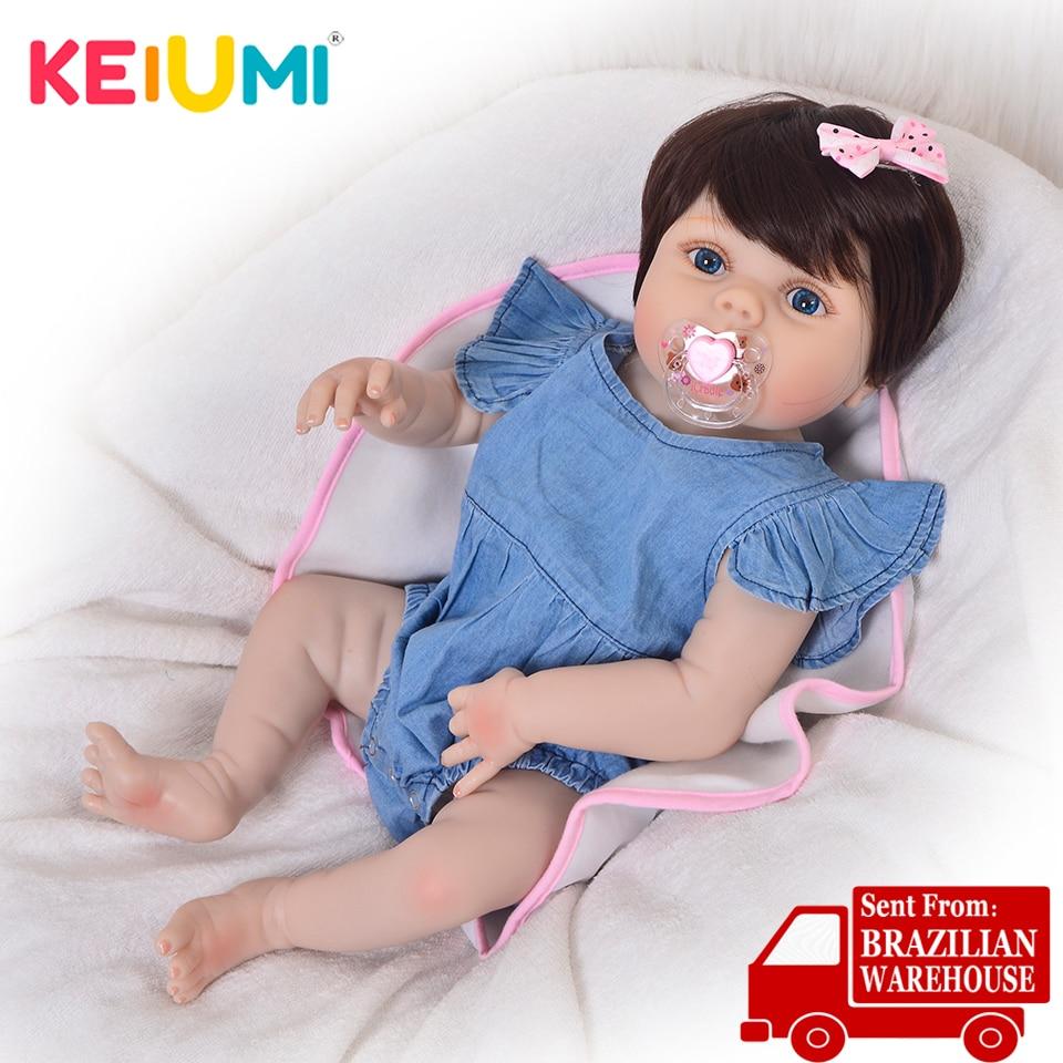 Keiumi 57 cm de corpo inteiro silicone reborn bonecas bebês 23 23 ethnic étnico renascer bebê menina realista adorável princesa para crianças festa brinquedos