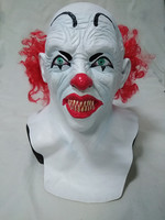 Funny Halloween Prop Latex costume Scary Joker Clown Mask with Red Hair