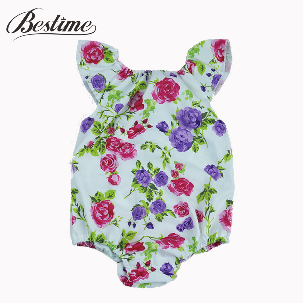 2017 Summer Baby Clothes Newborn Rompers Onepiece Ruffles Sleeve Rose Floral Print Girls Romper Infant Clothing