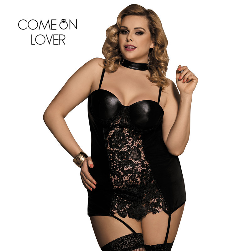 RI80385 Women Gartered Lingerie Lace Transparent Black Collared Chemise Big Size Sexy Night Sleeping Dress Faux Leather Lingerie