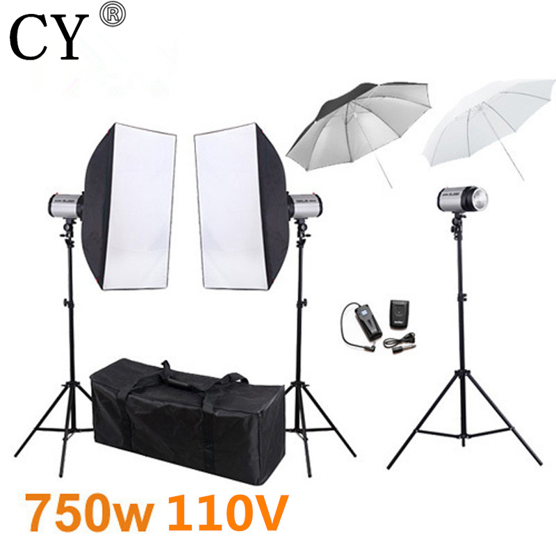 CY Photography Softbox Flash Lighting Kits 750ws 110V Storbe Light Lightbox Stand Set Photo Studio Accessories Godox 250DI