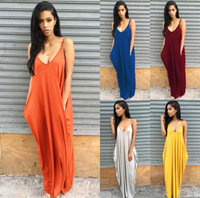2016 Summer Beach Casual Long Dress Sexy Spaghetti Straps V Neck Maxi Dress Women Plus Size