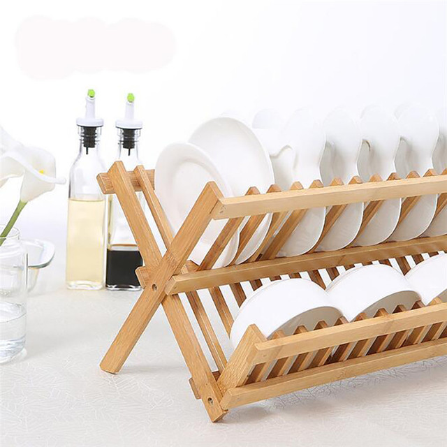 Bamboo Dish Drying Rack.Us 21 36 49 Off Bamboo Dish Drying Rack 16 Grids Bowl Plate Cup Drainer Tray Foldable Utensil Cutlery Shelf Holder Kitchen Organizer Drying Rack In
