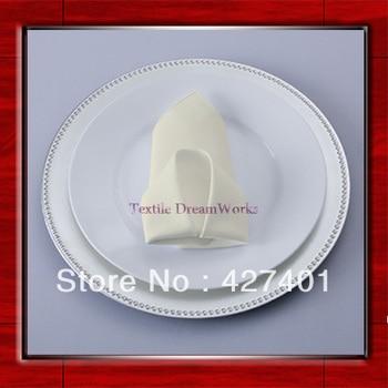 High Quality 50x50cm Ivory Polyester Plain Napkin / Table Napkin / Hotel Napkin / Dinner Napkin  (Factory Direct Sale)