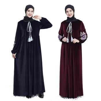 6dbfbb3388 Bordado a mano de terciopelo coreano de manga larga vestido musulmán árabe  casual abaya musulmana vestido ropa de Turquía islámica vestido