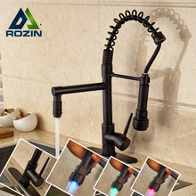 LED Light Kitchen Faucet Swivel Spout Spring Vessel Sink Mixer Tap Single Handle Oil Rubbed Bronze Finish