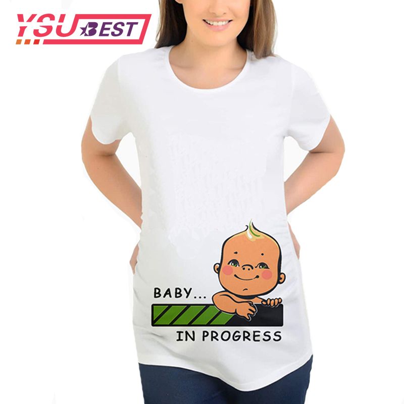 Spring Summer New Women/'s Maternity Baby in Pocket Print T Shirt Pregnancy Tops