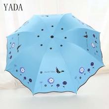 YADA Blue Flower & Bird Black Coating Three Folding Umbrella Rain Women uv High Quality Car For Womens Windproof YS038