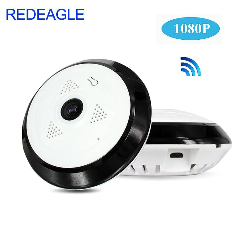 REDEAGLE 360 Degree Panoramic Wide Angle WiFi CCTV Camera 1080P HD Wireless Smart IP Camera Fisheye Home Security Cameras