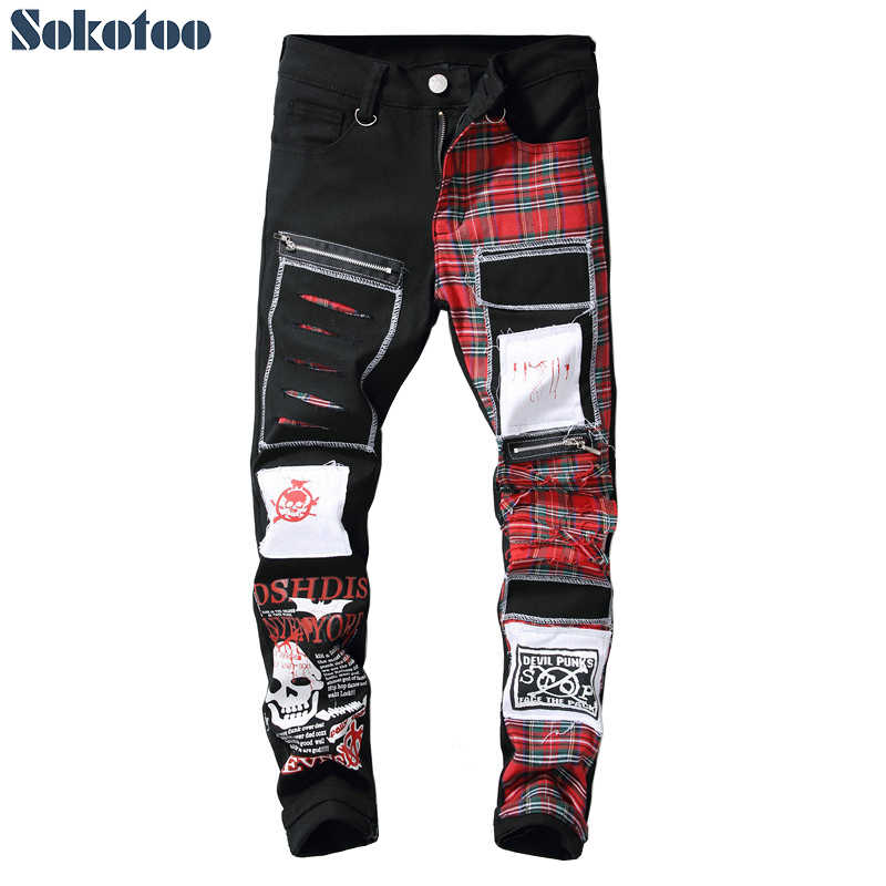 Sokotoo Mannen Schedel Gedrukt Schotse Plaid Patchwork Jeans Trendy Patches Ontwerp Black Ripped Verontruste Denim Lange Broek