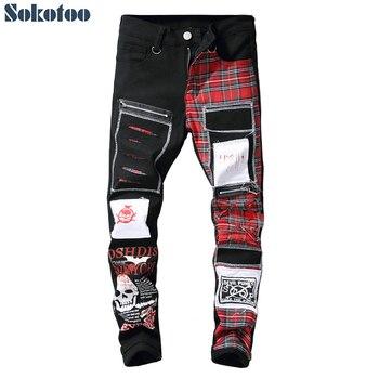 Мужские джинсы с заплатками Sokotoo с черепами и шотландской клеткой черные рваные и потертые брюки модные длинные штаны