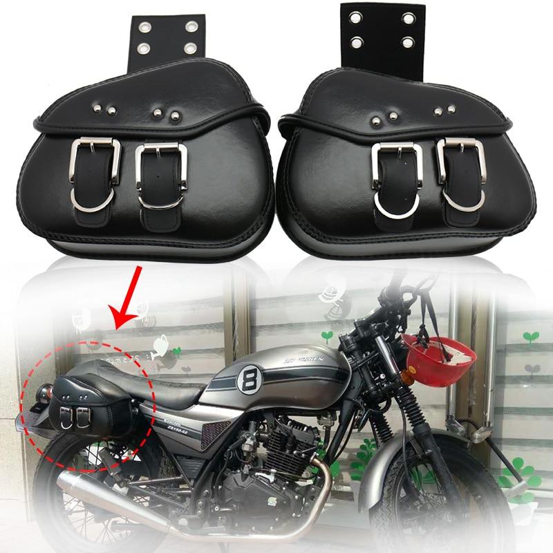 Black Saddlebags Side Storage For Harley Dyna Softail Sportster Touring Street Bob/Kawasaki VN Classic Nomad Drifter 1500 1700