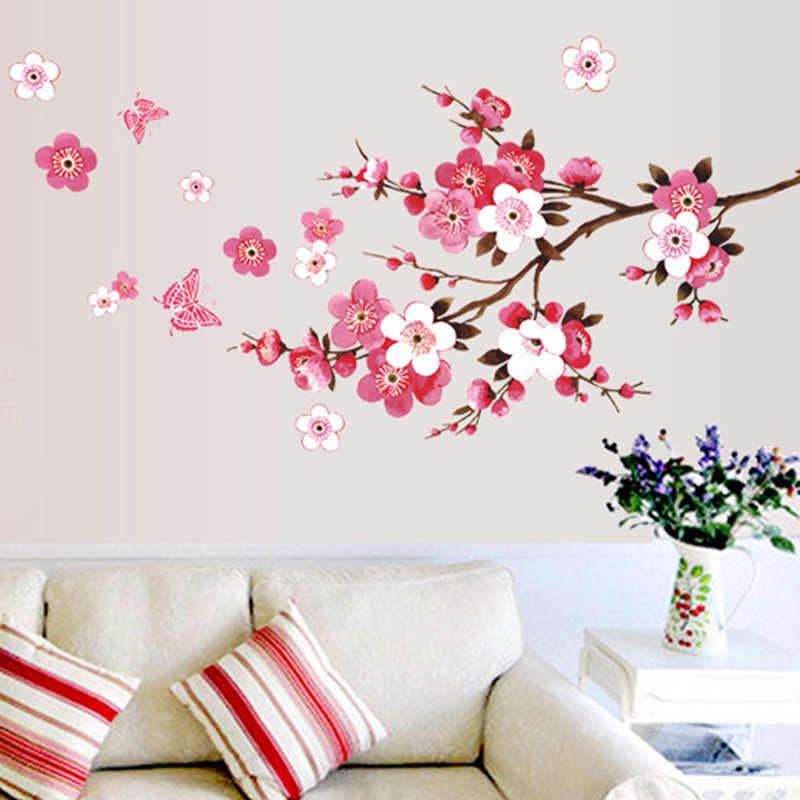 الجملة الجميلة ساكورا ملصقات جدار غرفة المعيشة ديكورات 739. Diy بها بنفسك الزهور البلاستيكية الرئيسية الشارات جدارية الفنون ملصق