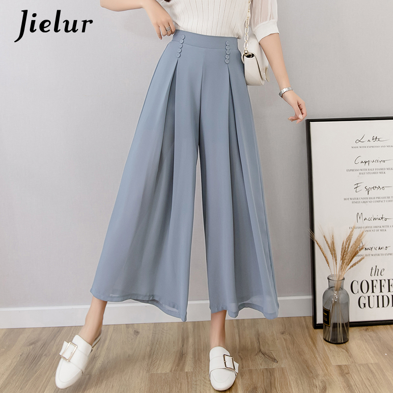 Jielur Chiffon   Wide     Leg     Pants   Women High Waist Summer Korean   Pants   Buttons Office Lady Roupas Loose Vintage Pantalon Femme S-XL